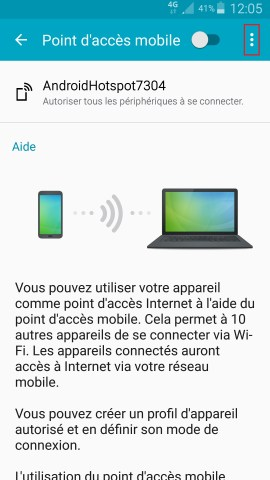 internet Samsung android 5 . x modem et point d'acces3