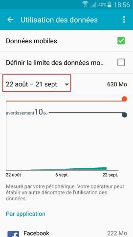 internet Samsung android 5 . x menu utilisation des données dates