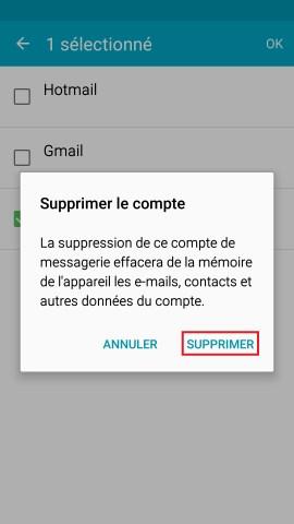 mail Samsung config mail gerer les comptes supprimer confirmer