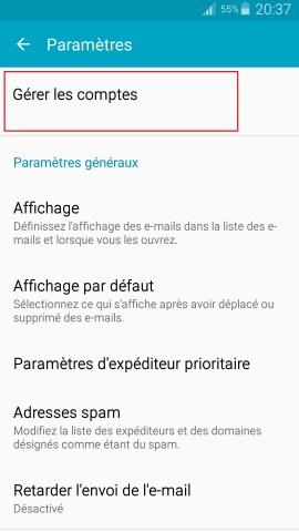 mail Samsung config mail gerer les comptes