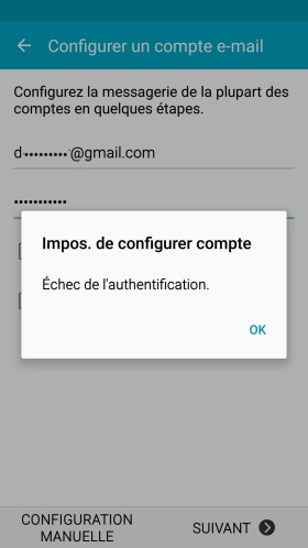 mail Samsung config mail impossible