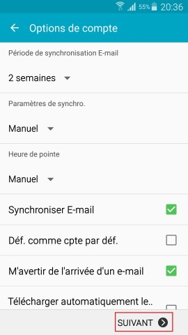 mail Samsung config mail option de compte
