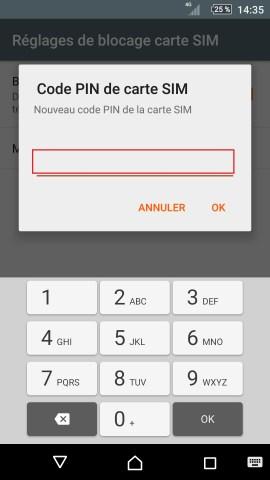 contact code pin ecran verrouillage Sony (android 5.1) réglages nouveau pim