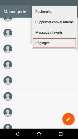 SMS Sony android 5 . 1 Message reglages