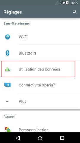 internet Sony android 5 . 1 réglages utilisations des données