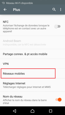 MMS Sony android 5.1 reglages reseaux mobiles