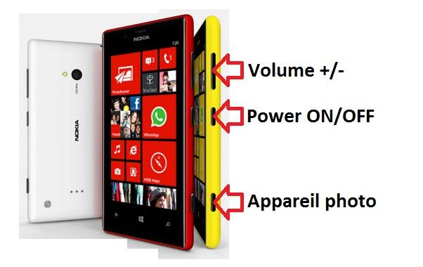 Nokia Lumia 720 bouton