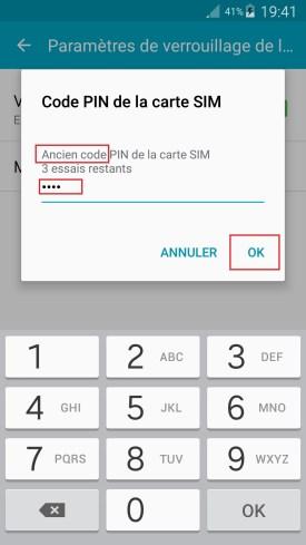contact code pin ecran verrouillage Samsung (android 6.0) code pin ancien