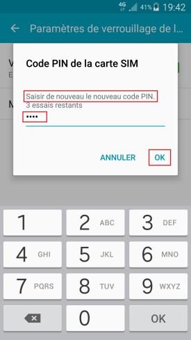 contact code pin ecran verrouillage Samsung (android 6.0) code pin confimer