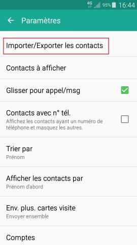 contact code pin ecran verrouillage Samsung android 5 importer exporter