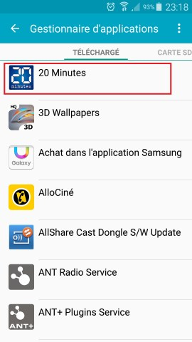 Applications Samsung android 6.0 gestionnaire application