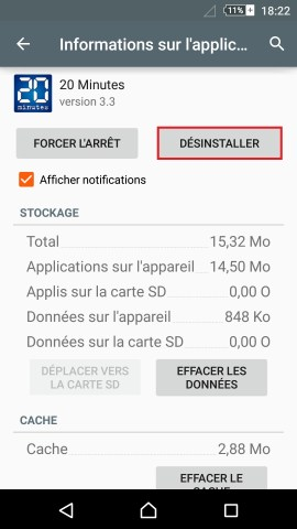 Application Sony android 5.1 application désinstaller