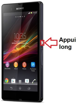 Sony Xperia Z allumage