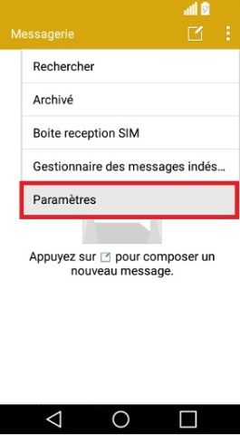 SMS LG android 5 . 1-message parametre