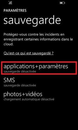 Sauvegarder restaurer mettre à jour son Lumia windows 8.1 applications paramètres