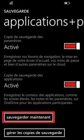 Sauvegarder restaurer mettre à jour son Lumia windows 8.1 sauvegarder maintenant