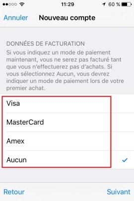 iphone ios9 app store compte VISA