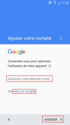 Activation Samsung mise en route compte google