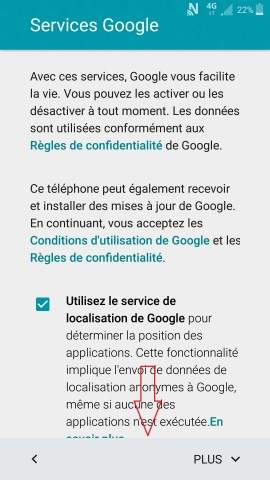 Activation Samsung mise en route service google
