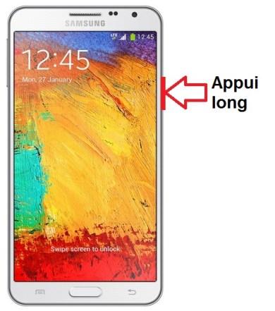 Samsung Galaxy note 3 allumage
