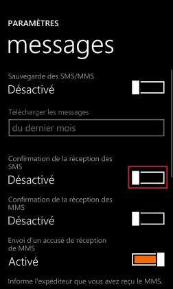 SMS Lumia windows 8.1 messages accuser de reception SMS