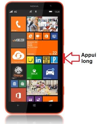 Microsoft Nokia Lumia 1320 allumage