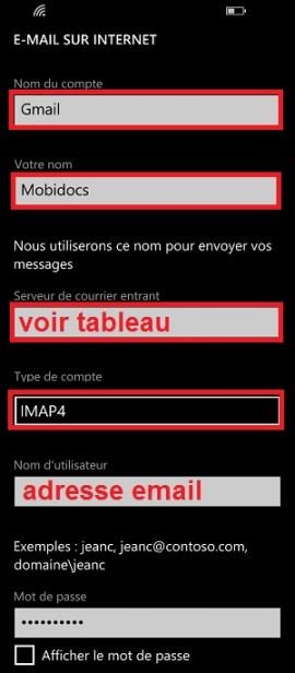 mail Lumia windows 8.1 configuration mail manuel