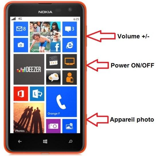 Microsoft Nokia Lumia 625 bouton
