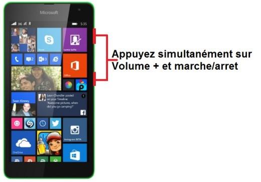 Microsoft Lumia 535 capture ecran