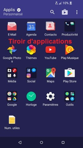 Personnaliser HTC android 6 tiroir applications