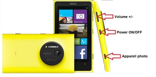 Microsoft Nokia Lumia 1020 bouton