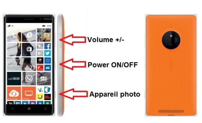 Microsoft Nokia Lumia 830 bouton