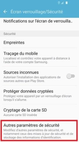 contact code pin ecran verrouillage Samsung (android 6.0) autres paramètres