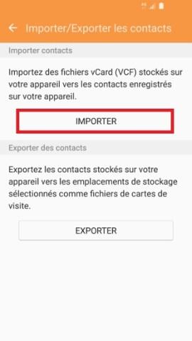 contact code pin ecran verrouillage Samsung (android 6.0) importer