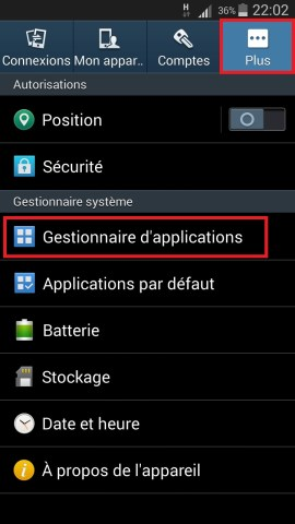Applications Samsung android 4 gestionnaire application