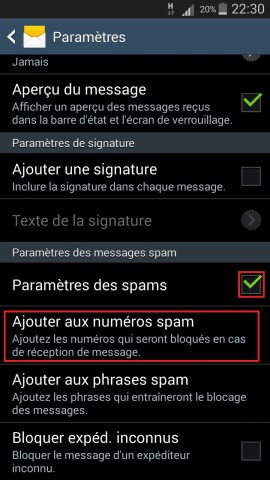 SMS Samsung android 4 message spam