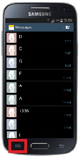 SMS Samsung android 4 touche menu message