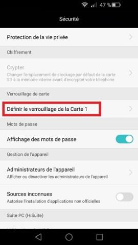 contact code pin ecran verrouillage Huawei (android 5.1)