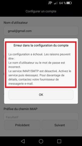 mail Huawei android 5 configuration email