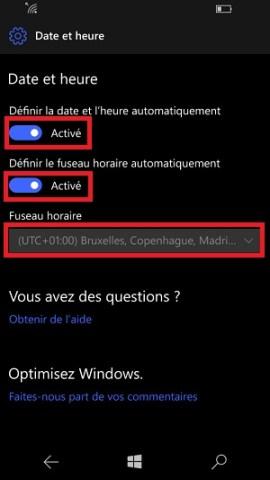 SMS Microsoft Lumia Windows 10 date et heure