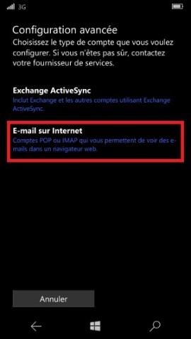email Lumia windows 10 E-mail sur internet