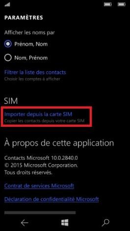 contact code pin ecran verrouillage Microsoft Nokia Lumia (Windows 10) importer contact SIM