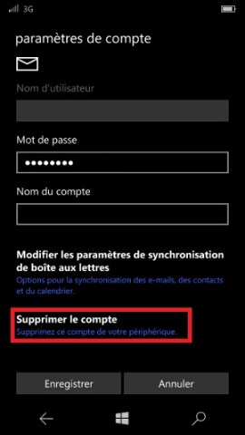 email Lumia windows 10 compte supprimer