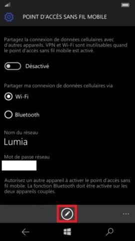 Internet Lumia Windows 10 point accès mobile