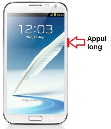 Samsung Galaxy Note 2 allumage