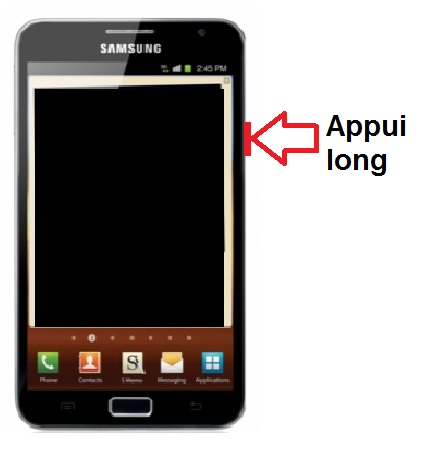 Samsung Galaxy Note allumage