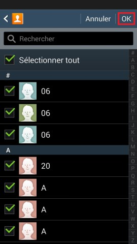 contact code pin ecran verrouillage Samsung (android 4.4) contact selection OK