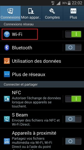 internet Samsung android 4 wifi