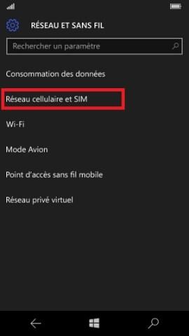 contact code pin ecran verrouillage Microsoft Nokia Lumia (Windows 10) reseau cellulaire et SIM