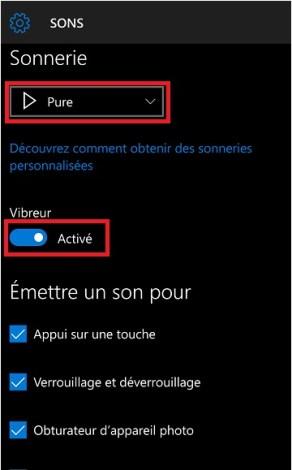 Personnalisation Lumia windows 10 son
